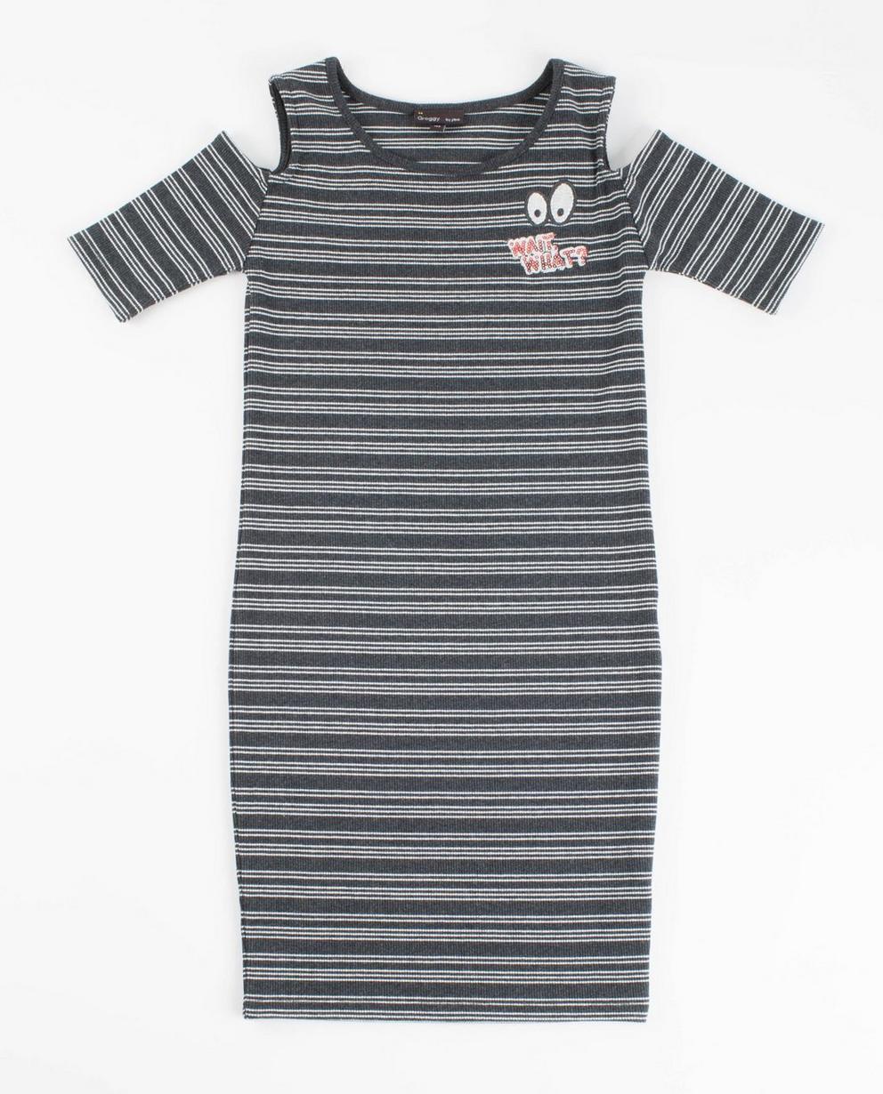 Graues, gestreiftes Kleid - mit Aussparungen - Groggy
